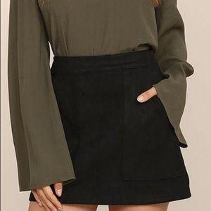 Lulu's Black Suede Skirt